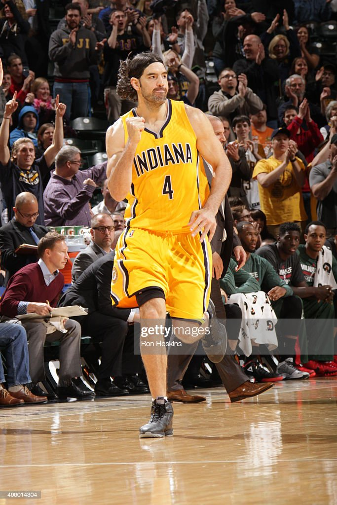 Luis Scola #4 of the Indiana Pacers celebrates a play during the game against the Milwaukee Bucks on March 12, 2015 at Bankers Life Fieldhouse in Indianapolis, Indiana.