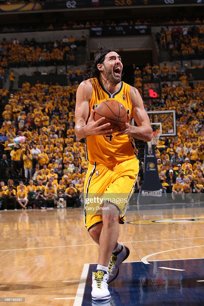 <a gi-track='captionPersonalityLinkClicked' href=/galleries/search?phrase=Luis+Scola&family=editorial&specificpeople=2464749 ng-click='$event.stopPropagation()'>Luis Scola</a> #4 of the Indiana Pacers drives to the basket during Game One of the Eastern Conference Semifinals against the Washington Wizards on May 5, 2014 at Bankers Life Fieldhouse in Indianapolis, Indiana.