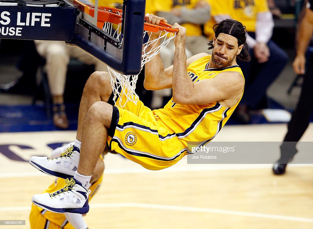 <a gi-track='captionPersonalityLinkClicked' href=/galleries/search?phrase=Luis+Scola&family=editorial&specificpeople=2464749 ng-click='$event.stopPropagation()'>Luis Scola</a> #4 of the Indiana Pacers dunks against the Miami Heat during Game One of the Eastern Conference Finals of the 2014 NBA Playoffs at Bankers Life Fieldhouse on May 18, 2014 in Indianapolis, Indiana.