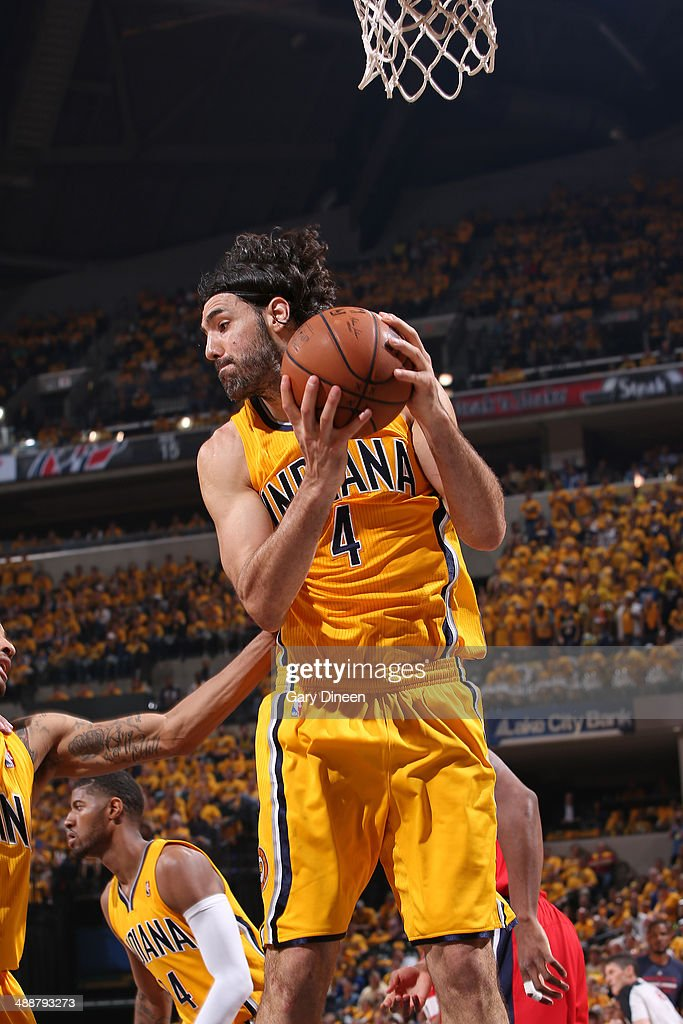 <a gi-track='captionPersonalityLinkClicked' href=/galleries/search?phrase=Luis+Scola&family=editorial&specificpeople=2464749 ng-click='$event.stopPropagation()'>Luis Scola</a> #4 of the Indiana Pacers grabs a rebound during Game One of the Eastern Conference Semifinals against the Washington Wizards on May 5, 2014 at Bankers Life Fieldhouse in Indianapolis, Indiana.