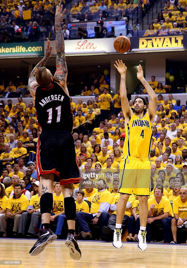 <a gi-track='captionPersonalityLinkClicked' href=/galleries/search?phrase=Luis+Scola&family=editorial&specificpeople=2464749 ng-click='$event.stopPropagation()'>Luis Scola</a> #4 of the Indiana Pacers takes a shot as Chris Andersen #11 of the Miami Heat defends during Game Two of the Eastern Conference Finals of the 2014 NBA Playoffs at at Bankers Life Fieldhouse on May 20, 2014 in Indianapolis, Indiana.