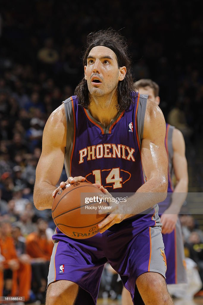 <a gi-track='captionPersonalityLinkClicked' href=/galleries/search?phrase=Luis+Scola&family=editorial&specificpeople=2464749 ng-click='$event.stopPropagation()'>Luis Scola</a> #14 of the Phoenix Suns attempts a free throw against the Golden State Warriors on February 2, 2013 at Oracle Arena in Oakland, California.