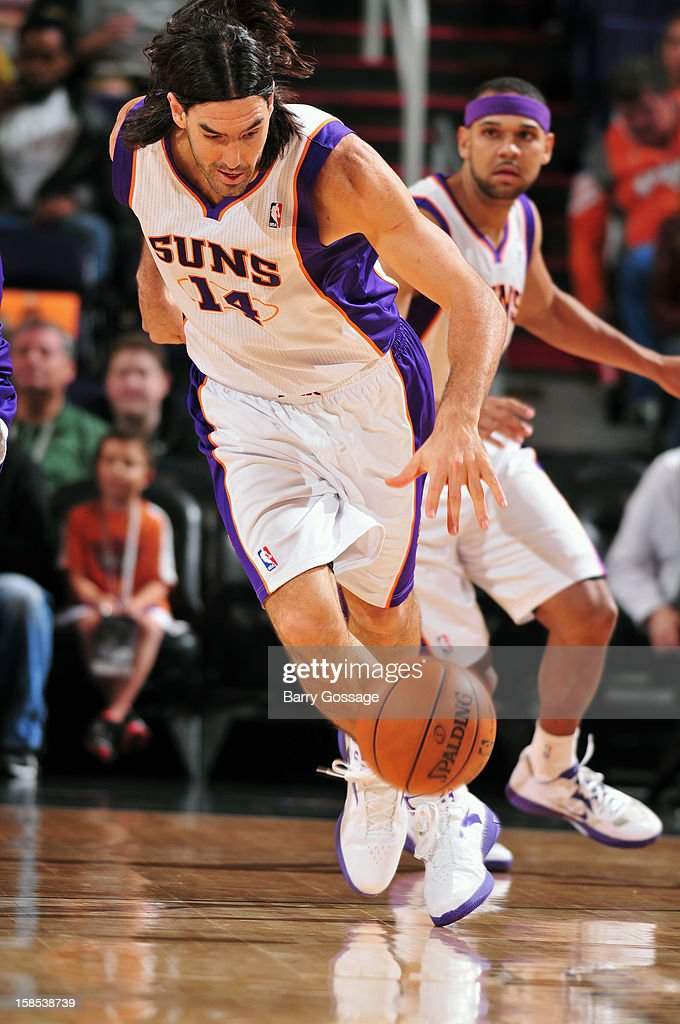 <a gi-track='captionPersonalityLinkClicked' href=/galleries/search?phrase=Luis+Scola&family=editorial&specificpeople=2464749 ng-click='$event.stopPropagation()'>Luis Scola</a> #14 of the Phoenix Suns brings the ball up court against the Sacramento Kings on December 17, 2012 at U.S. Airways Center in Phoenix, Arizona.
