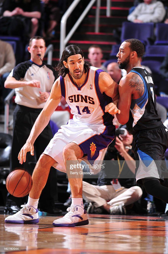 <a gi-track='captionPersonalityLinkClicked' href=/galleries/search?phrase=Luis+Scola&family=editorial&specificpeople=2464749 ng-click='$event.stopPropagation()'>Luis Scola</a> #14 of the Phoenix Suns controls the ball against Derrick Williams #7 of the Minnesota Timberwolves on February 26, 2013 at U.S. Airways Center in Phoenix, Arizona.