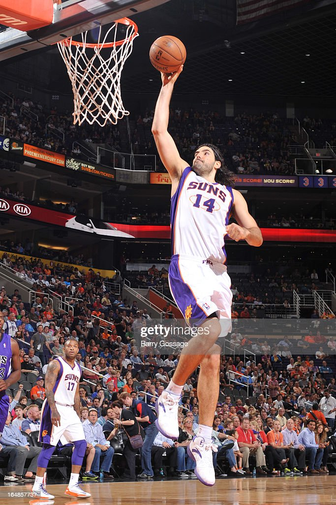 Luis Scola #14 of the Phoenix Suns drives for a shot against the Sacramento Kings on March 28, 2013 at U.S. Airways Center in Phoenix, Arizona.