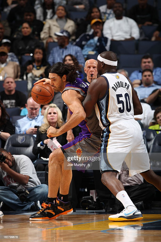 Luis Scola #14 of the Phoenix Suns drives to the basket against the Memphis Grizzlies on February 5, 2013 at FedExForum in Memphis, Tennessee.