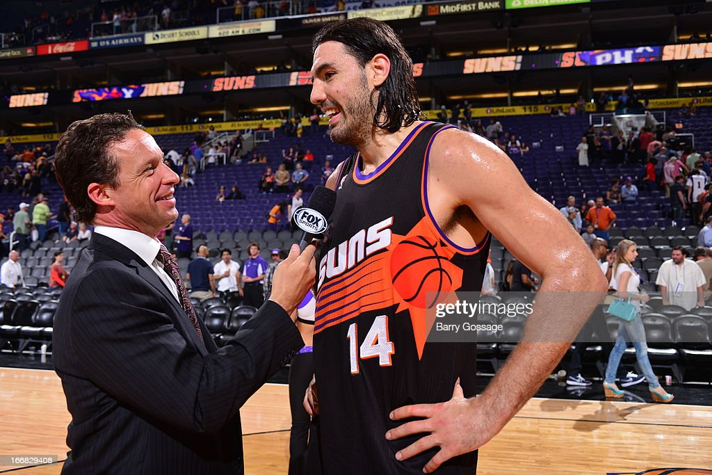 <a gi-track='captionPersonalityLinkClicked' href=/galleries/search?phrase=Luis+Scola&family=editorial&specificpeople=2464749 ng-click='$event.stopPropagation()'>Luis Scola</a> #14 of the Phoenix Suns gets interviewed after the game against the Los Angeles Lakers on March 18, 2013 at U.S. Airways Center in Phoenix, Arizona.