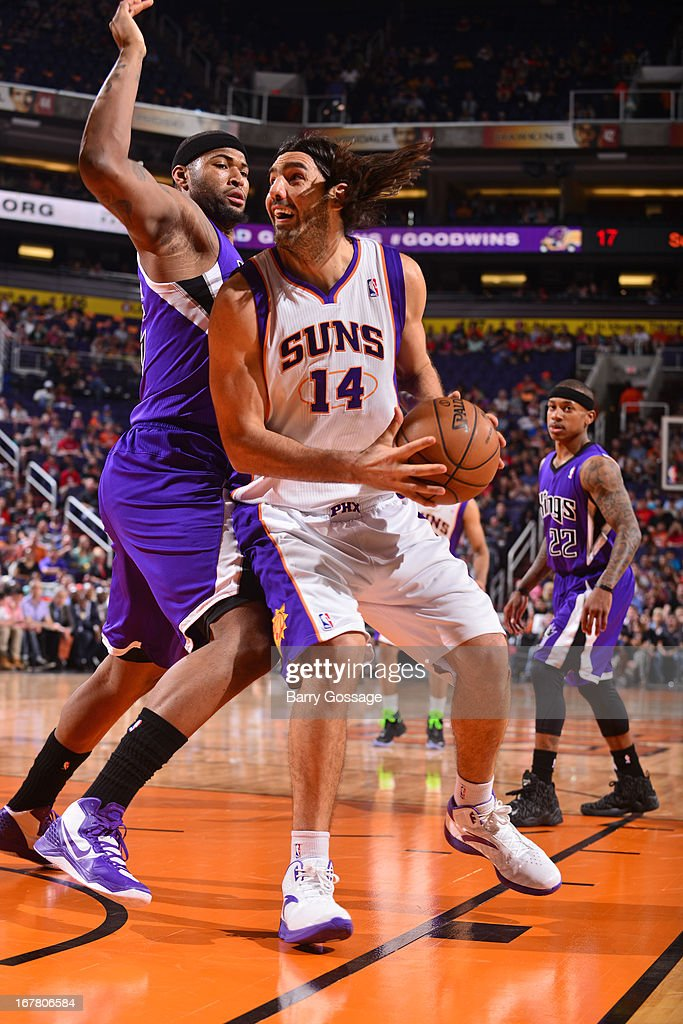 <a gi-track='captionPersonalityLinkClicked' href=/galleries/search?phrase=Luis+Scola&family=editorial&specificpeople=2464749 ng-click='$event.stopPropagation()'>Luis Scola</a> #14 of the Phoenix Suns looks to drive to the basket against the Sacramento Kings on March 28, 2013 at U.S. Airways Center in Phoenix, Arizona.