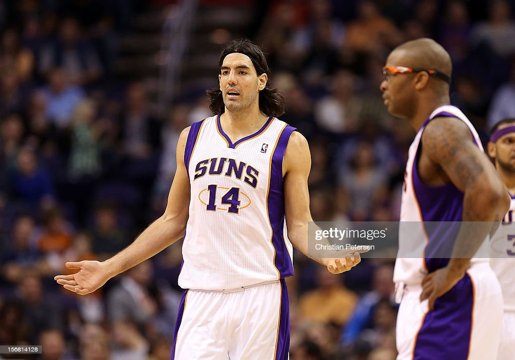 <a gi-track='captionPersonalityLinkClicked' href=/galleries/search?phrase=Luis+Scola&family=editorial&specificpeople=2464749 ng-click='$event.stopPropagation()'>Luis Scola</a> #14 of the Phoenix Suns reacts to a fould call during the NBA game against the Portland Trail Blazers at US Airways Center on November 21, 2012 in Phoenix, Arizona. The Suns defeated the Trail Blazers 114-87.