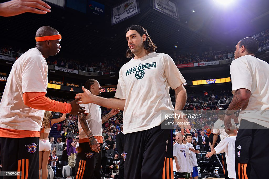 <a gi-track='captionPersonalityLinkClicked' href=/galleries/search?phrase=Luis+Scola&family=editorial&specificpeople=2464749 ng-click='$event.stopPropagation()'>Luis Scola</a> #14 of the Phoenix Suns runs out before the game against the New Orleans Hornets on April 7, 2013 at U.S. Airways Center in Phoenix, Arizona.