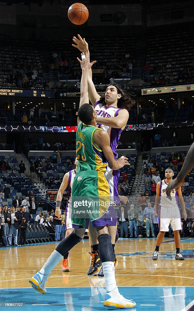 Luis Scola #14 of the Phoenix Suns shoots over Anthony Davis #23 of the New Orleans Hornets on February 06, 2013 at the New Orleans Arena in New Orleans, Louisiana.
