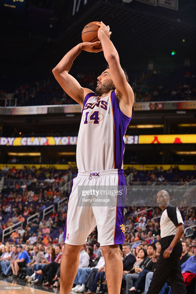Luis Scola #14 of the Phoenix Suns takes a shot against the Atlanta Hawks on March 1, 2013 at U.S. Airways Center in Phoenix, Arizona.
