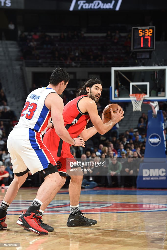 <a gi-track='captionPersonalityLinkClicked' href=/galleries/search?phrase=Luis+Scola&family=editorial&specificpeople=2464749 ng-click='$event.stopPropagation()'>Luis Scola</a> #4 of the Toronto Raptors handles the ball against Ersan Ilyasova #23 of the Detroit Pistons on February 8, 2016 at The Palace of Auburn Hills in Auburn Hills, Michigan.