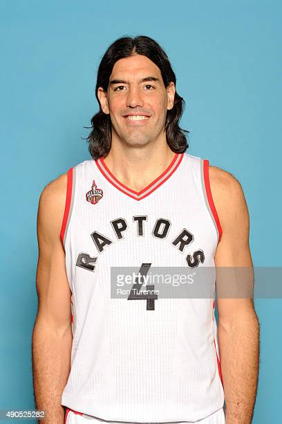 Luis Scola of the Toronto Raptors poses for a photo during media day on September 28 at the Air Canada Centre in Toronto Ontario Canada NOTE TO USER...