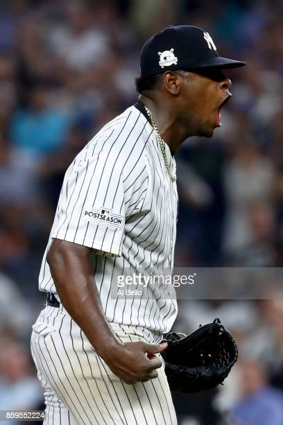 Luis Severino of the New York Yankees celebrates after closing out the top of the seventh inning against the Cleveland Indians in Game Four of the...