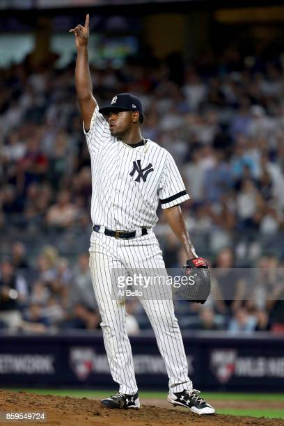 Luis Severino of the New York Yankees celebrates against the Cleveland Indians during the sixth inning in Game Four of the American League Divisional...