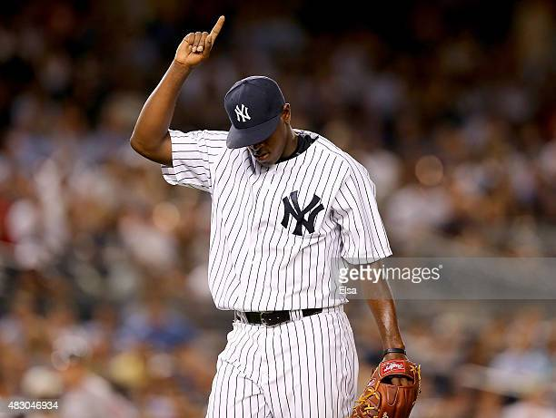 Luis Severino of the New York Yankees celebrates his final out of the fifth inning against the Boston Red Sox on August 5 2015 at Yankee Stadium in...