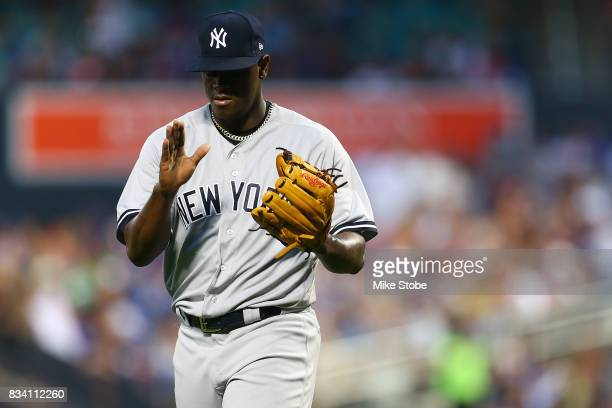 Luis Severino of the New York Yankees claps after getting the third out in the first inning against the New York Mets at Citi Field on August 17 2017...