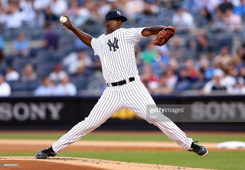 Luis Severino #40 of the New York Yankees delivers a pitch in the first inning against the Boston Red Sox on August 5, 2015 at Yankee Stadium in the Bronx borough of New York City.Today is Severino's Major League debut.