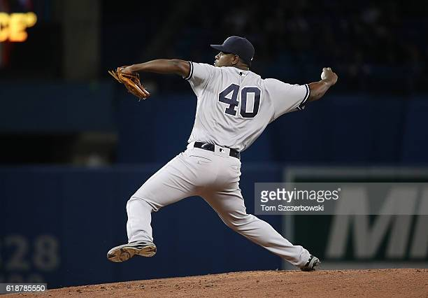 Luis Severino of the New York Yankees delivers a pitch in the first inning during MLB game action against the Toronto Blue Jays on September 26 2016...