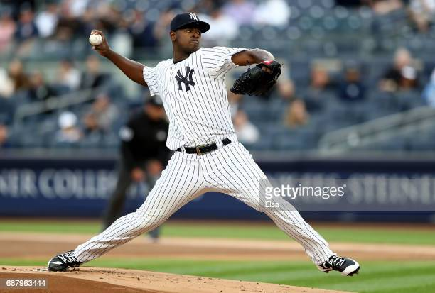 Luis Severino of the New York Yankees delivers a pitch in the first inning against the Kansas City Royals on May 24 2017 at Yankee Stadium in the...