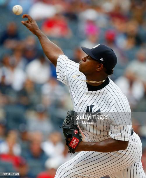 Luis Severino of the New York Yankees in action against the Boston Red Sox at Yankee Stadium on August 12 2017 in the Bronx borough of New York City...