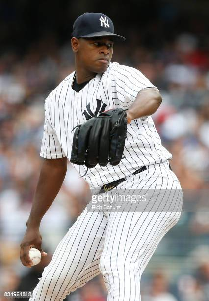 Luis Severino of the New York Yankees in action against the Boston Red Sox during a game at Yankee Stadium on August 12 2017 in the Bronx borough of...