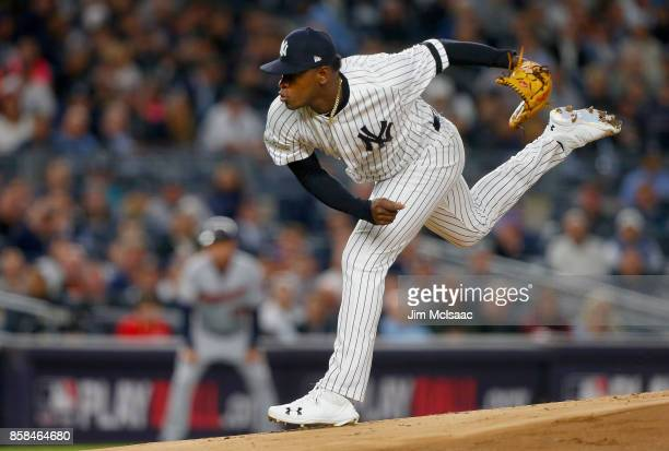 Luis Severino of the New York Yankees in action against the Minnesota Twins in the American League Wild Card Game at Yankee Stadium on October 3 2017...