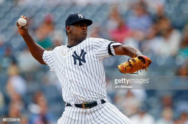 Luis Severino of the New York Yankees in action against the Minnesota Twins at Yankee Stadium on September 20 2017 in the Bronx borough of New York...