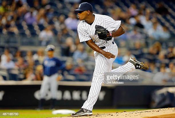 Luis Severino of the New York Yankees in action against the Tampa Bay Rays at Yankee Stadium on September 4 2015 in the Bronx borough of New York...