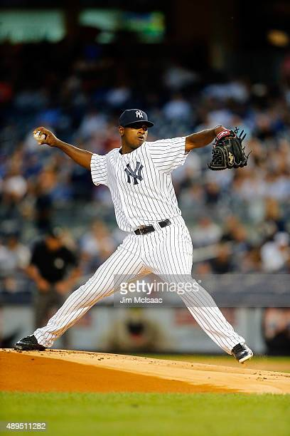 Luis Severino of the New York Yankees in action against the Toronto Blue Jays at Yankee Stadium on September 11 2015 in the Bronx borough of New York...