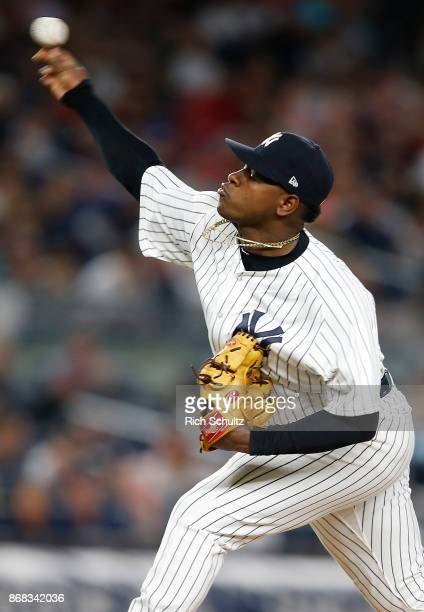 Luis Severino of the New York Yankees in action during a game against the Boston Red Sox at Yankee Stadium on September 3 2017 in the Bronx borough...