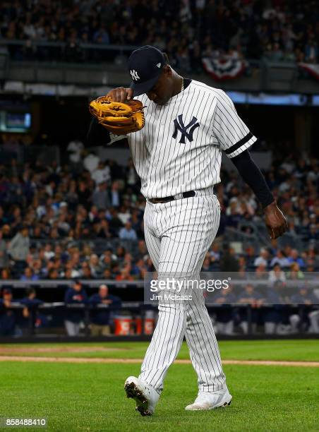 Luis Severino of the New York Yankees leaves in the first inning against the Minnesota Twins in the American League Wild Card Game at Yankee Stadium...