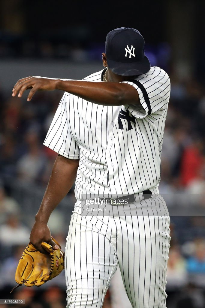 Luis Severino #40 of the New York Yankees leaves the mound after giving up a two run home run in the second inning on September 15, 2017 at Yankee Stadium in the Bronx borough of New York City.