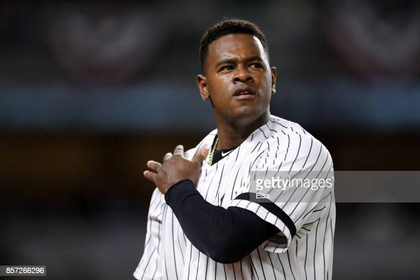 Luis Severino of the New York Yankees looks on against the Minnesota Twins during the first inning in the American League Wild Card Game at Yankee...