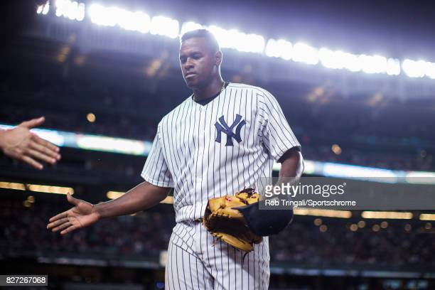 Luis Severino of the New York Yankees looks on during the game against the Detroit Tigers at Yankee Stadium on July 31 2017 in the Bronx borough of...