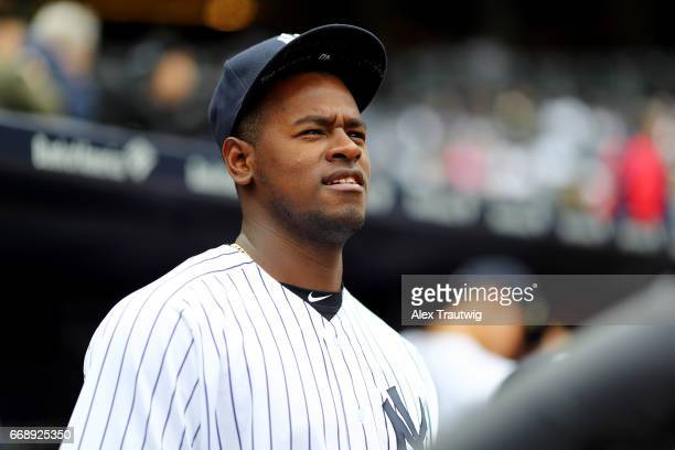 Luis Severino of the New York Yankees looks on from the dugout during the game between the St Louis Cardinals and the New York Yankees at Yankee...