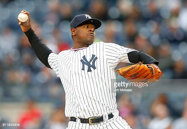 Luis Severino of the New York Yankees pitches against the Baltimore Orioles at Yankee Stadium on October 1 2016 in the Bronx borough of New York City