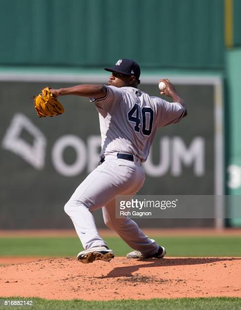 Luis Severino of the New York Yankees pitches against the Boston Red Sox during the first inning at Fenway Park on July 15 2017 in Boston...