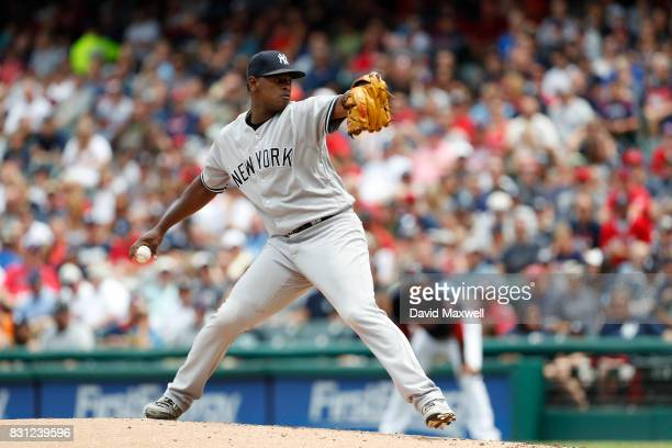 Luis Severino of the New York Yankees pitches against the Cleveland Indians in the first inning at Progressive Field on August 6 2017 in Cleveland...
