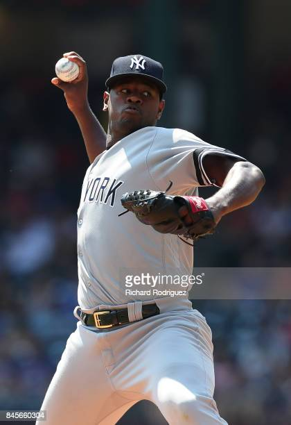 Luis Severino of the New York Yankees pitches against the Texas Rangers at Globe Life Park in Arlington on September 9 2017 in Arlington Texas
