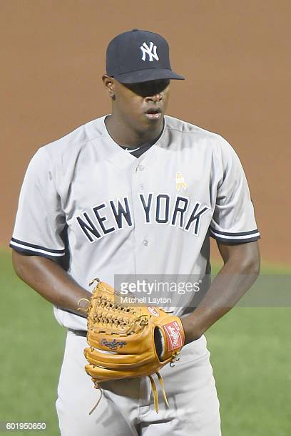 Luis Severino of the New York Yankees pitches during a baseball game against the Baltimore Orioles at Oriole Park at Camden Yards on September 2 2016...