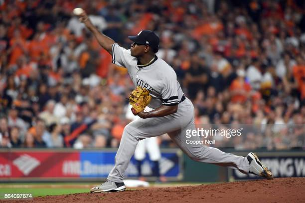 Luis Severino of the New York Yankees pitches during Game 6 of the American League Championship Series against the Houston Astros at Minute Maid Park...