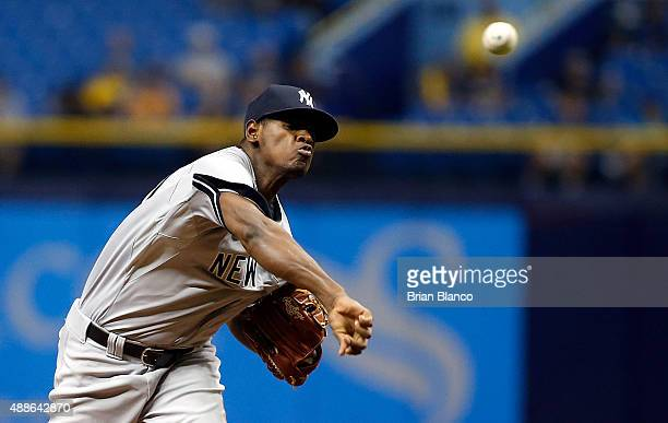 Luis Severino of the New York Yankees pitches during the first inning of a game against the Tampa Bay Rays on September 16 2015 at Tropicana Field in...