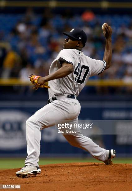 Luis Severino of the New York Yankees pitches during the first inning of a game against the Tampa Bay Rays on May 19 2017 at Tropicana Field in St...