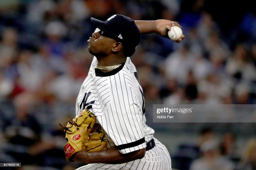Luis Severino #40 of the New York Yankees pitches during the first inning on September 15, 2017 at Yankee Stadium in the Bronx borough of New York City.