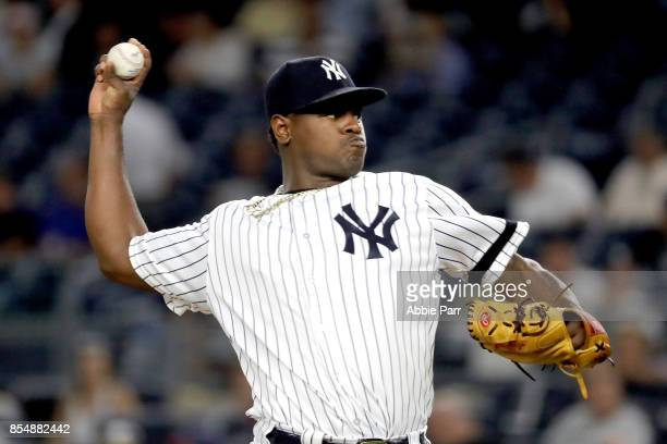 Luis Severino of the New York Yankees pitches during the first inning against the Tampa Bay Rays at Yankee Stadium on September 27 2017 in the Bronx...