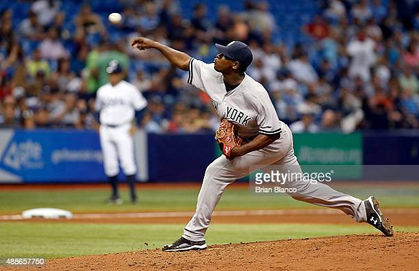 Luis Severino of the New York Yankees pitches during the fourth inning of a game against the Tampa Bay Rays on September 16 2015 at Tropicana Field...