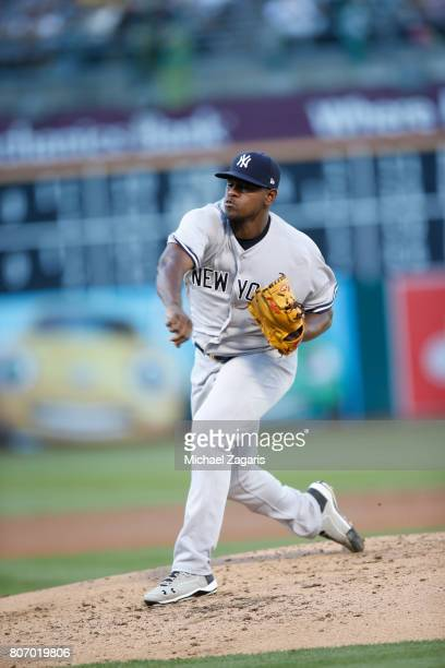 Luis Severino of the New York Yankees pitches during the game against the Oakland Athletics at the Oakland Alameda Coliseum on June 16 2017 in...