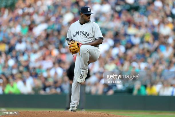 Luis Severino of the New York Yankees pitches during the game against the Seattle Mariners at Safeco Field on July 20 2017 in Seattle Washington The...